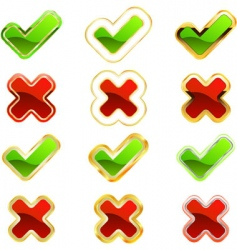 approved and rejected icon set vector image vector image