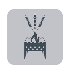 Barbecue grill with shashlik icon vector