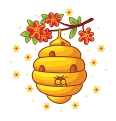 Beehive weighs on a branch with flowers vector