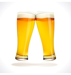 Beer splashing two glasses vector image