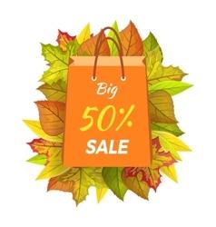 Big sale 50 percent autumn paper bag label vector