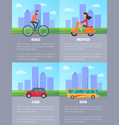 Bike and moped car and bus vector