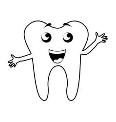 Black icon tooth cartoon vector
