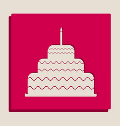 Cake with candle sign grayscale version vector