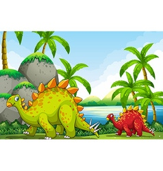 Cute dinosaurs in the park vector
