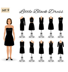 fashion woman in little black dress set of vector image vector image