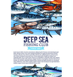 Fishing club banner with seafood and fish sketches vector