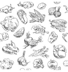Freehand drawing vegetables seamless pattern vector
