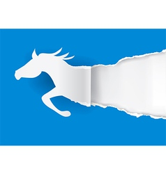 Horse silhouette ripping paper vector image vector image