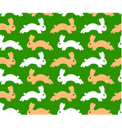 jumping rabbit seamless pattern vector image