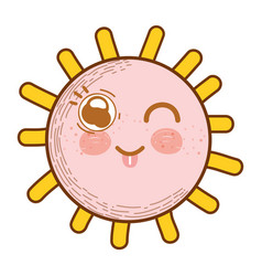 Kawaii sun fanny face with cheeks and tongue vector