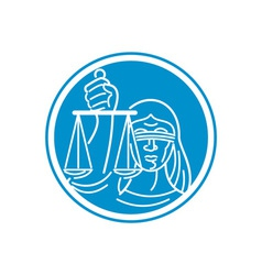 Lady blindfolded hold scales justice circle vector