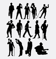 Man with hat pose silhouette vector