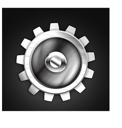 metallic gear icon design vector image vector image