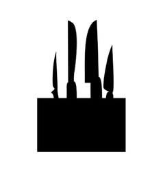 Monochrome silhouette with knife block set vector