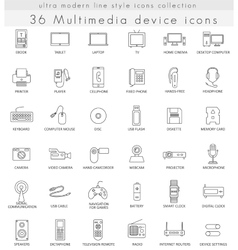 Multimedia devices ultra modern outline vector