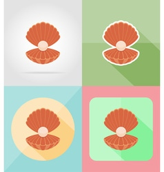 Objects for recreation a beach flat icons 14 vector