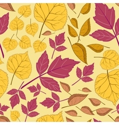 Pattern with leaves on a yellow vector image