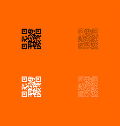 qr code black and white set icon vector image