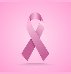 realistic pink ribbon breast cancer awareness vector image vector image