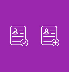 Resume icons linear style vector