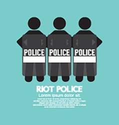 Riot Police Standing With Shield vector image vector image