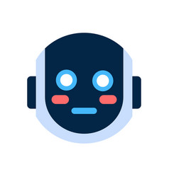 Robot face icon shocked blushed face emotion vector