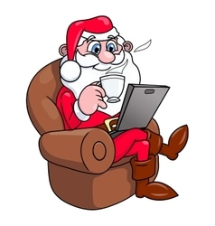 Santa Claus with laptop 2 vector image vector image