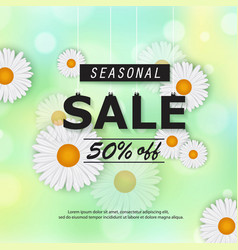 Seasonal spring summer sale banner with flowers vector
