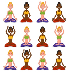 Set women yoga vector image