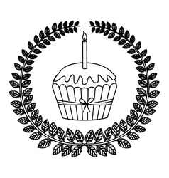 silhouette crown of leaves with cupcake with red vector image vector image