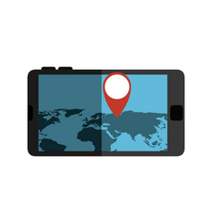 Smartphone device with gps app isolated icon vector