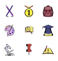 teaching icons set cartoon style vector image