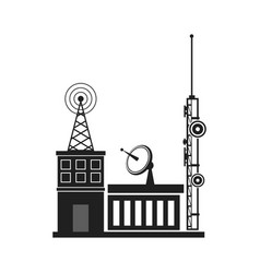 tv antennas and satellite dish for television vector image