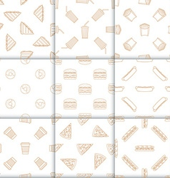 various fast food snacks beverages outline vector image