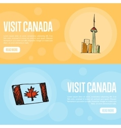 Visit canada travel company landing page template vector