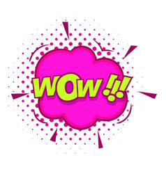 Wow text sound effect icon pop art style vector