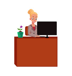 Young pretty businesswoman secretary working on vector