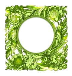Circle frame with nature floral green ornament vector