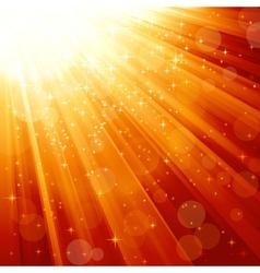 Magic stars descending on beams of light vector image