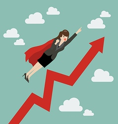 Business woman super hero with growing graph vector