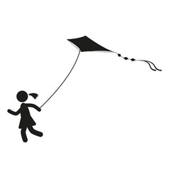 Girl with kite black and white on the wind vector