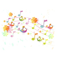 Music background with birds vector