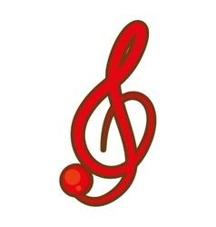 Cartoon treble clef musical paper icon vector