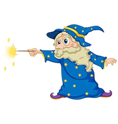 A wizard holding a magic wand vector