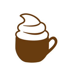 Brown cup of cappuccino with cream vector