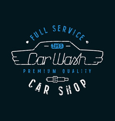 Car shop and wash emblem in thin line style vector