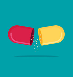 Flat open capsule pill isolated on color vector