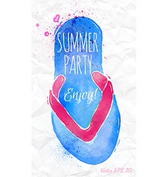 Watercolor flip flop sandals on a crumpled paper vector