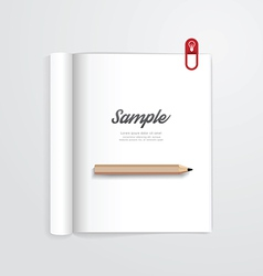 Book open with pencil magazine template vector